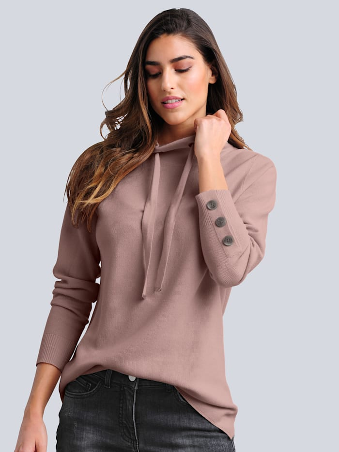 Alba Moda Pulovr v módně pletené struktuře, Růžová