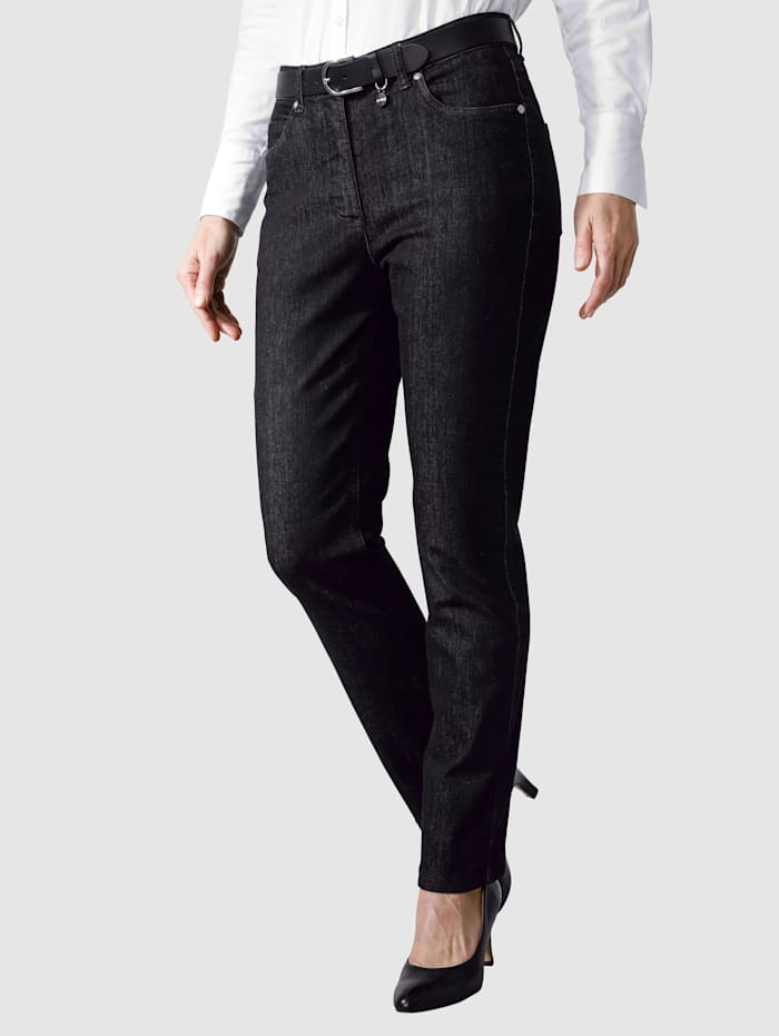 MONA Jeans mit Logostickerei, Schwarz