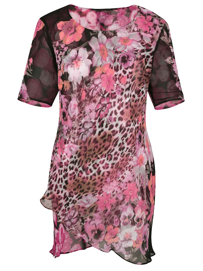 Keerbare blouse 1x animal/gebloemd en 1x gebloemd