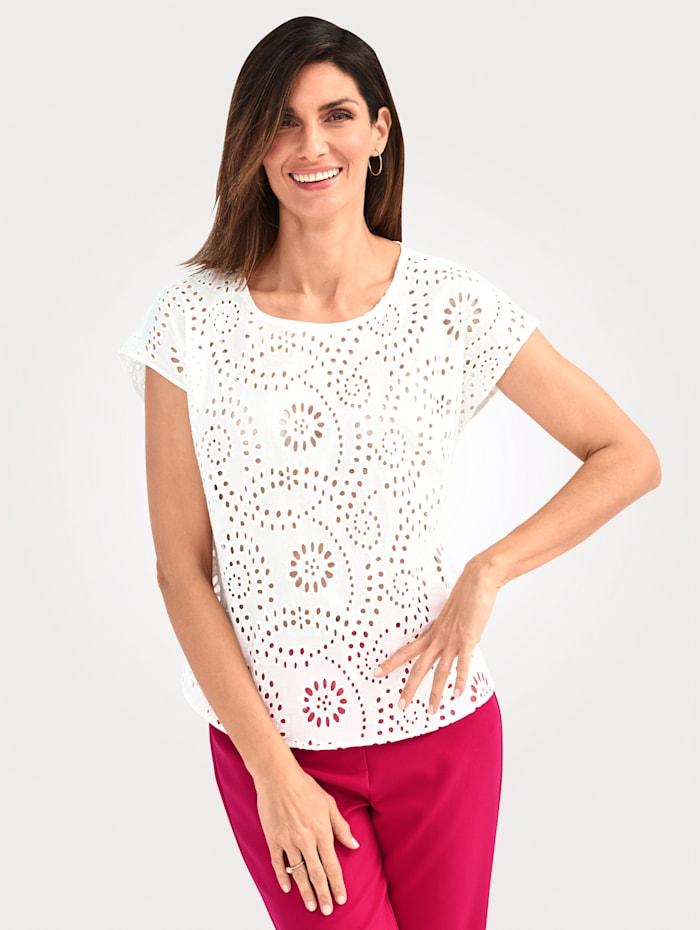 MONA Bluse mit floralem Lochmuster, Weiß