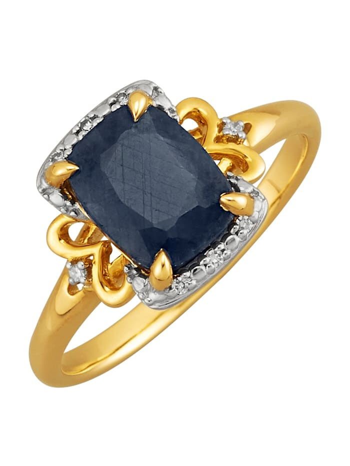 Amara Farbstein Damenring mit Saphir und Diamanten, Blau