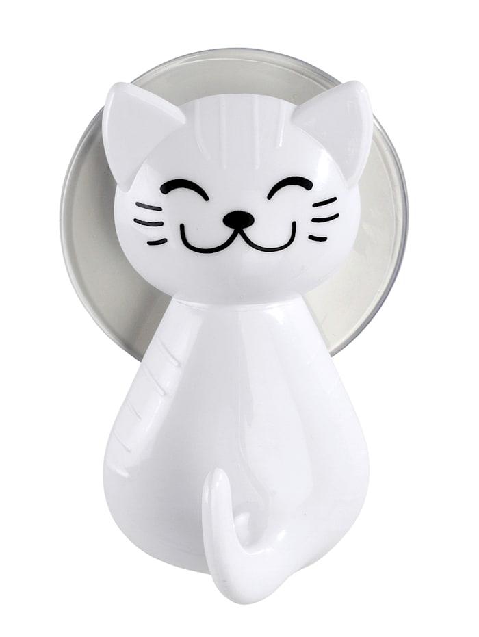 """Wenko Imukuppikiinnitteinen koukku """"kissa"""", 2/p., Valkoinen"""