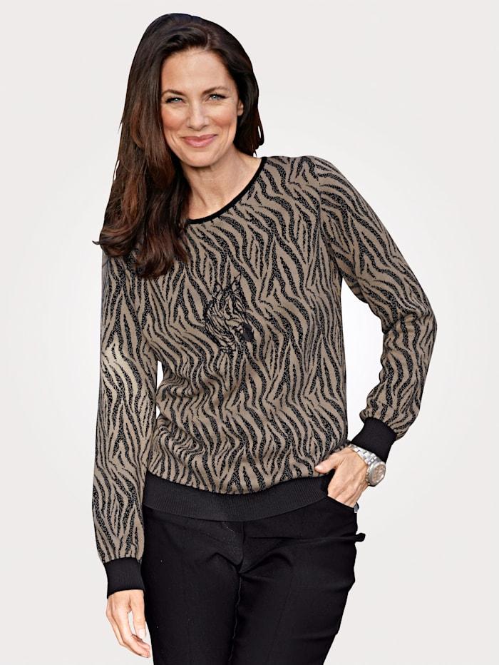 MONA Pullover mit tierischem Jaquardstrick, Oliv/Schwarz