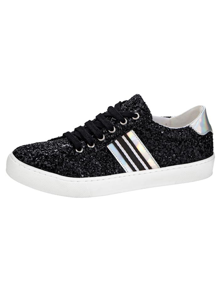 Sneaker in funkelnder Glitter-Optik, Schwarz/Silberfarben