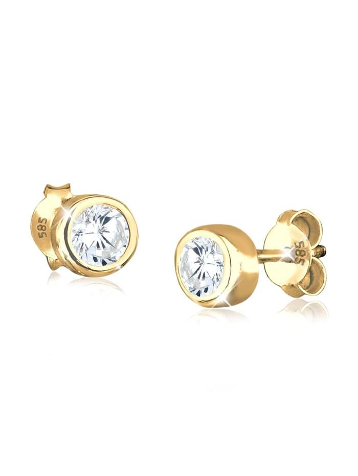 Elli Premium Ohrringe Basic Hochwertig Zirkonia 585 Gelbgold, Weiß