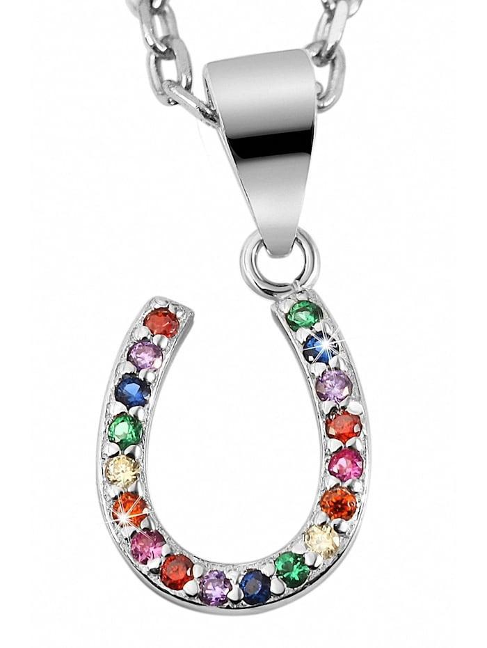 1001 Diamonds Damen Anhänger Hufeisen aus 925 Silber mit Zirkonia, bunt