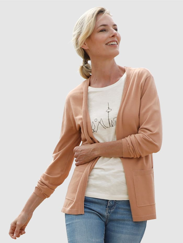 Dress In Cardigan in offener Form, Camel