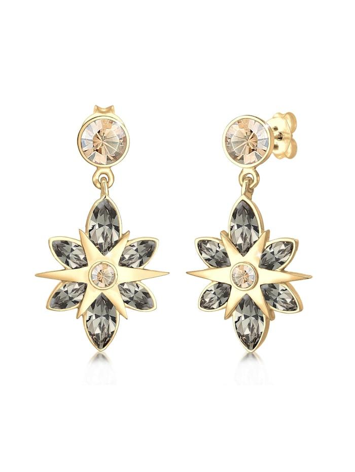 Elli Premium Ohrringe Hänger Stern Kristalle 925Er Silber, Gold