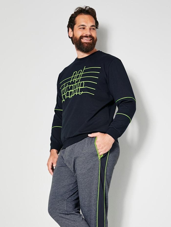 Men Plus Sweatshirt van zuiver katoen, Marine/Neongroen