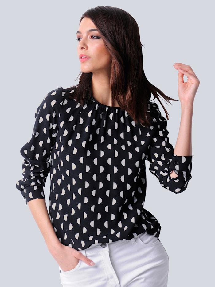 Alba Moda Bluse aus reiner Viskose-Qualität, Schwarz/Off-white