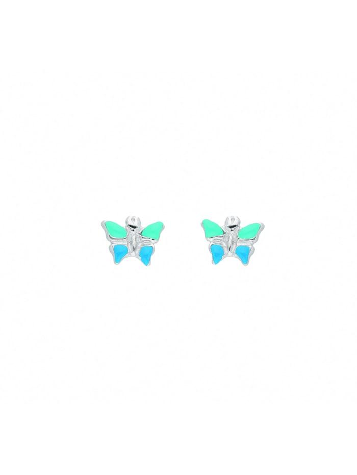 1001 Diamonds Damen Silberschmuck 925 Silber Ohrringe / Ohrstecker Schmetterling blau grün, silber