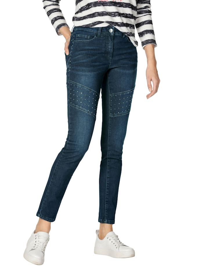 AMY VERMONT Jeans met klinknageltjes, Dark blue