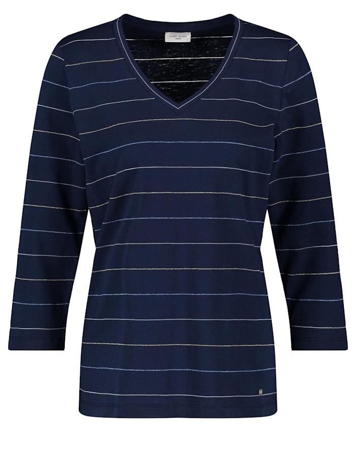 Gerry Weber 3/4 Arm Shirt mit zartem Ringel, Blau Ringel
