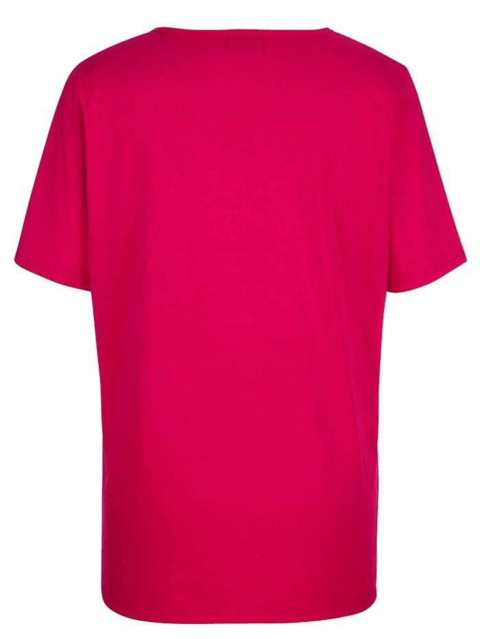 Shirt met strassteentjes aan de hals