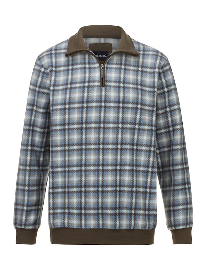 BABISTA Fleece trui met ruitdessin, Grijs/Blauw