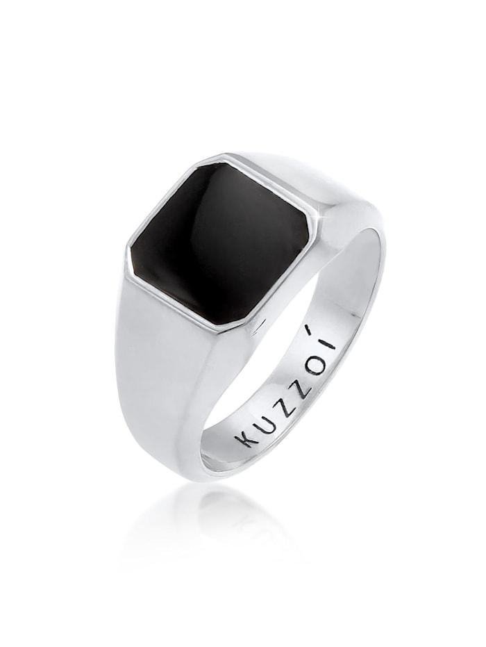 Kuzzoi Ring Herren Siegelring Emaille Schwarz Basic 925 Silber, Silber