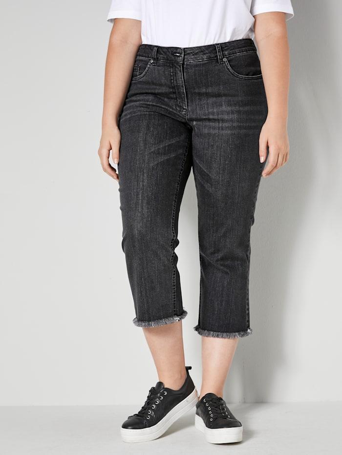 Sara Lindholm Jeans mit offenem Saum, Grau
