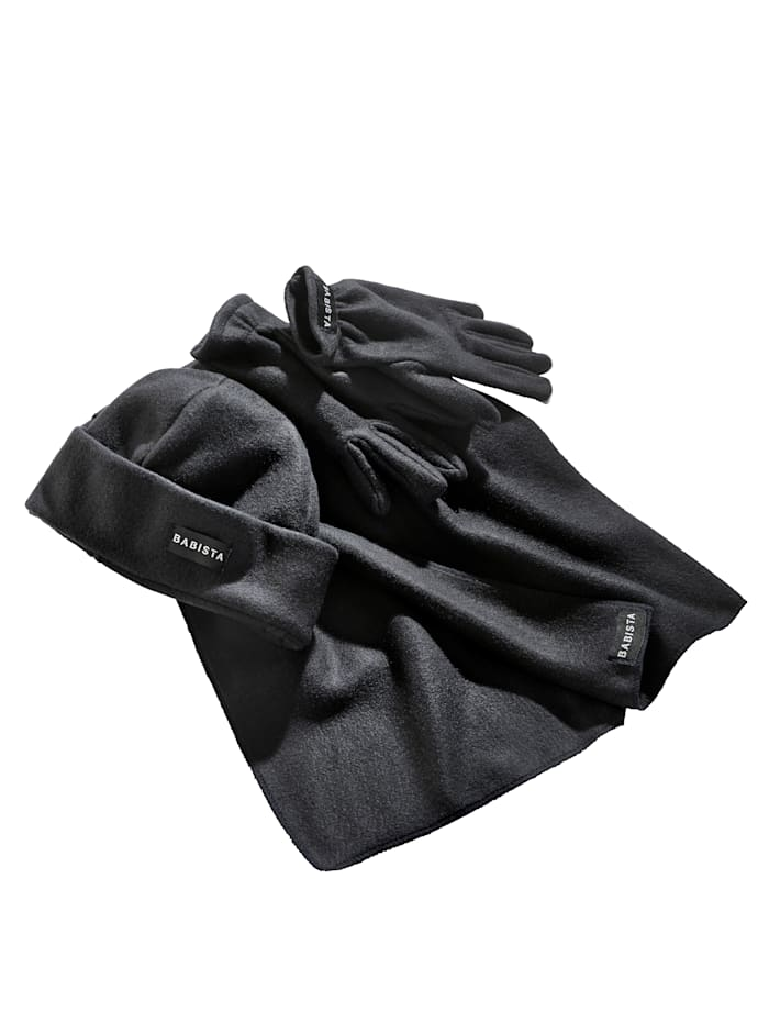 BABISTA Fleeceset Schal & Handschuhe, Anthrazit