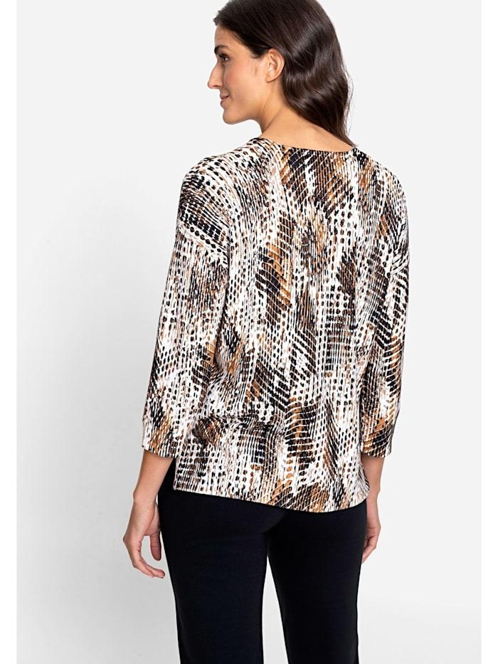 V-Ausschnitt-Pullover mit abstraktem Animalprint