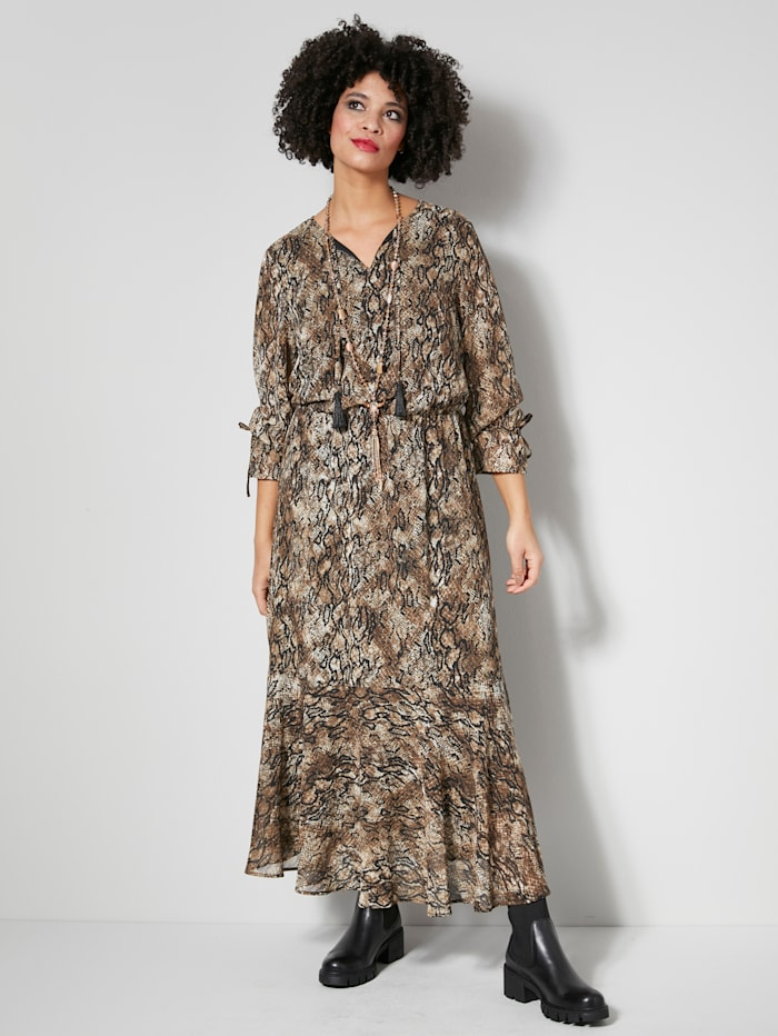 Angel of Style Web-Kleid mit Animalprint, Beige