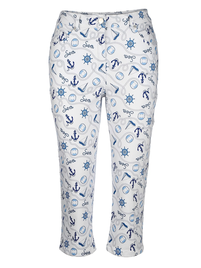 Jeans with a nautical print