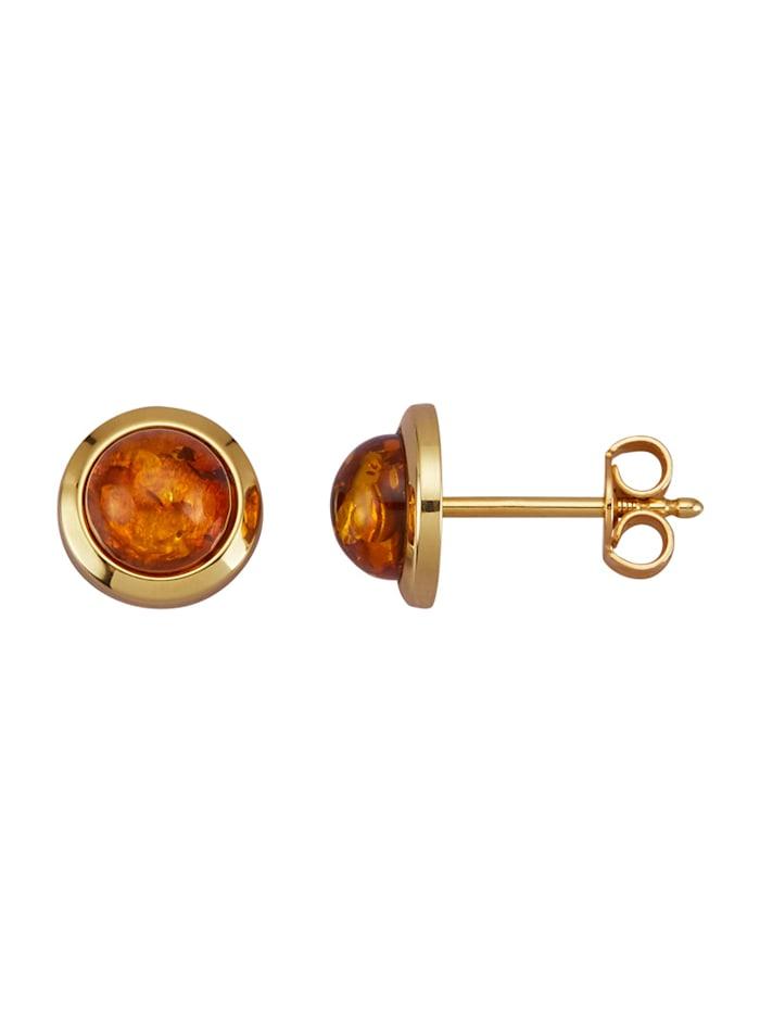 Amara Pierres colorées Boucles d'oreilles en or jaune 585, Marron
