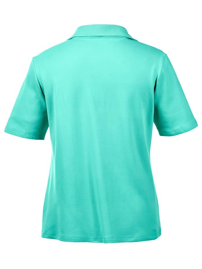 Polo shirt with decorative rhinestones