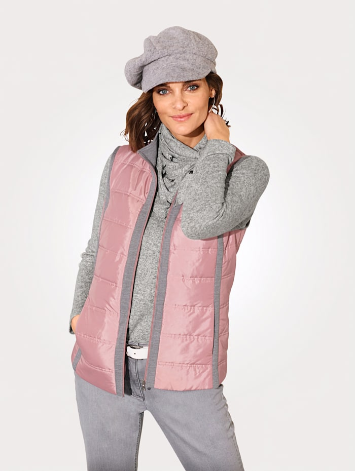 MONA Gilet with jersey inserts, Rose/Grey
