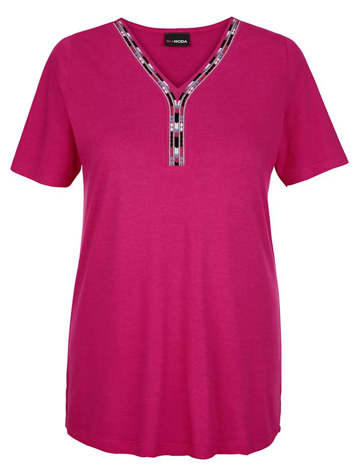 MIAMODA Shirt mit Stickerei entlang des Ausschnitts, Pink