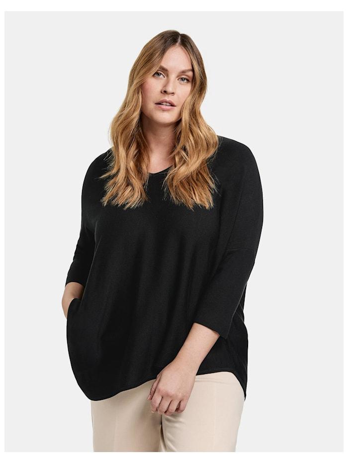 Samoon Oversize-Pullover mit asymmetrischem Saum, Black