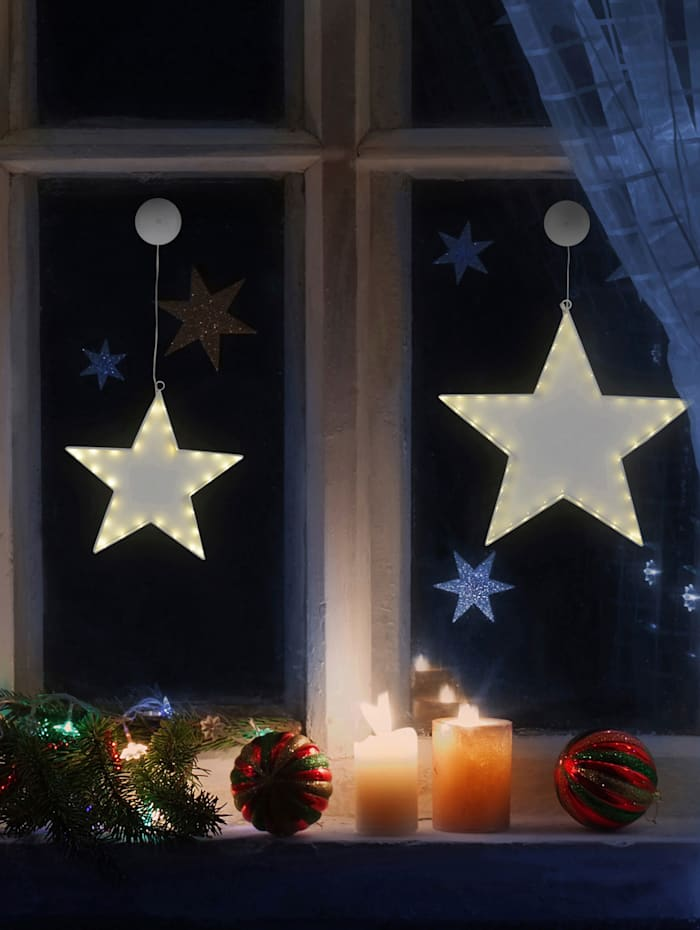 2er-Set LED Weihnachtsstern 'Star'