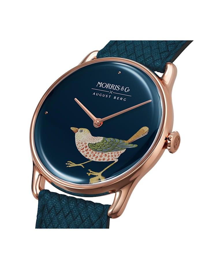 Uhr MORRIS & CO Rose Gold Bird Indigo Perlon 38mm
