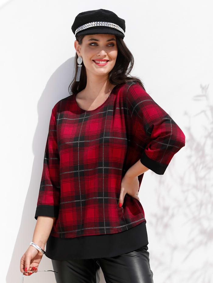 MIAMODA Sweatshirt mit fließendem Einsatz am Saum, Rot/Schwarz/Weiß
