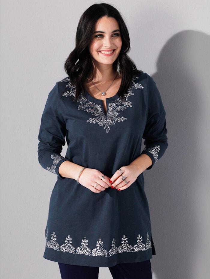 MIAMODA Longshirt mit funkelnden Pailletten und Stickereien, Marineblau