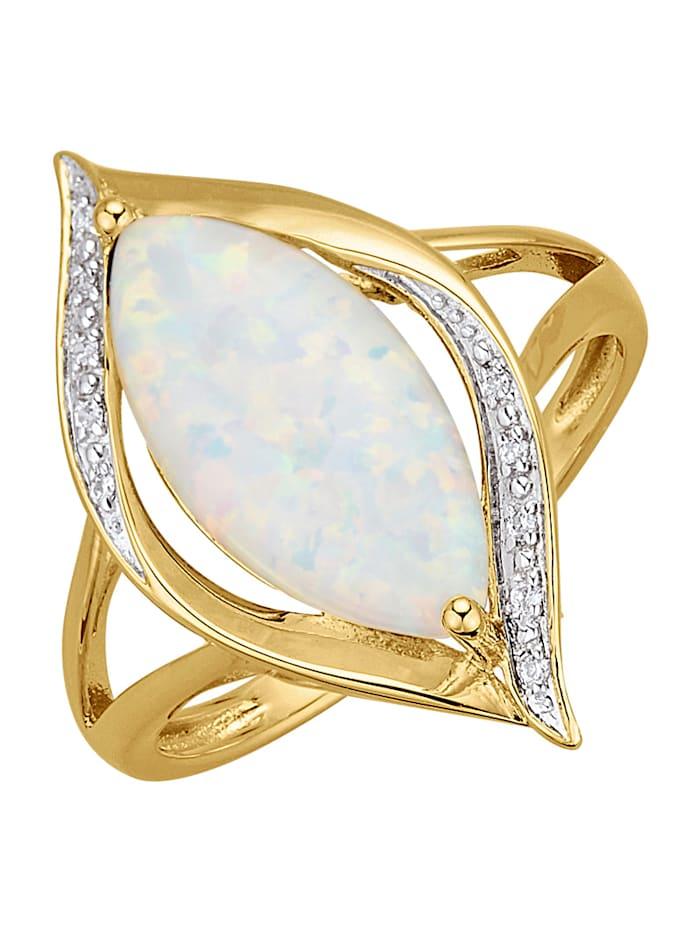 Damesring met opaal, Multicolor