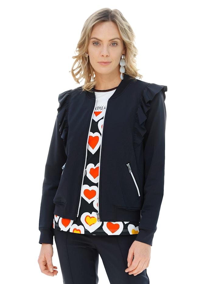AMY VERMONT Sako so zapínaním na zips v kontrastnej farbe, Čierna