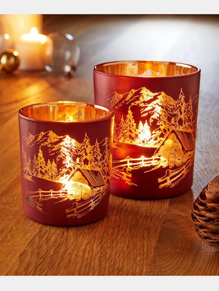 Globen Lighting 2er Set Windlichter 'Häuser', Rot