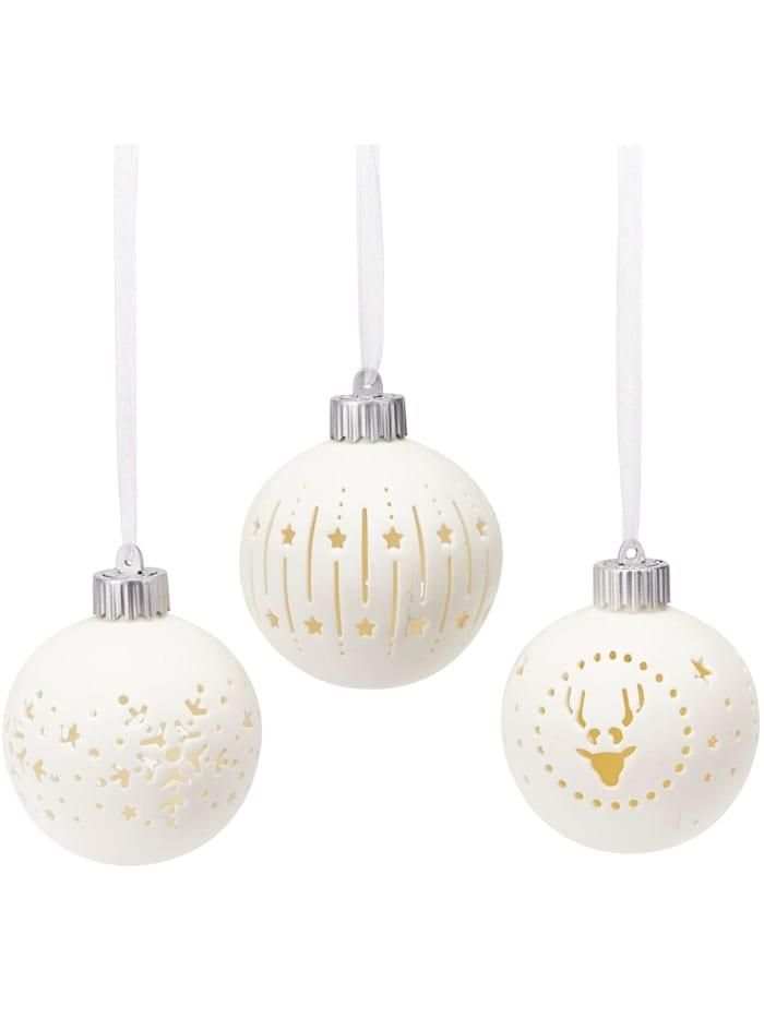 Living LED-Kugel-Set, 3-tlg., Weiß