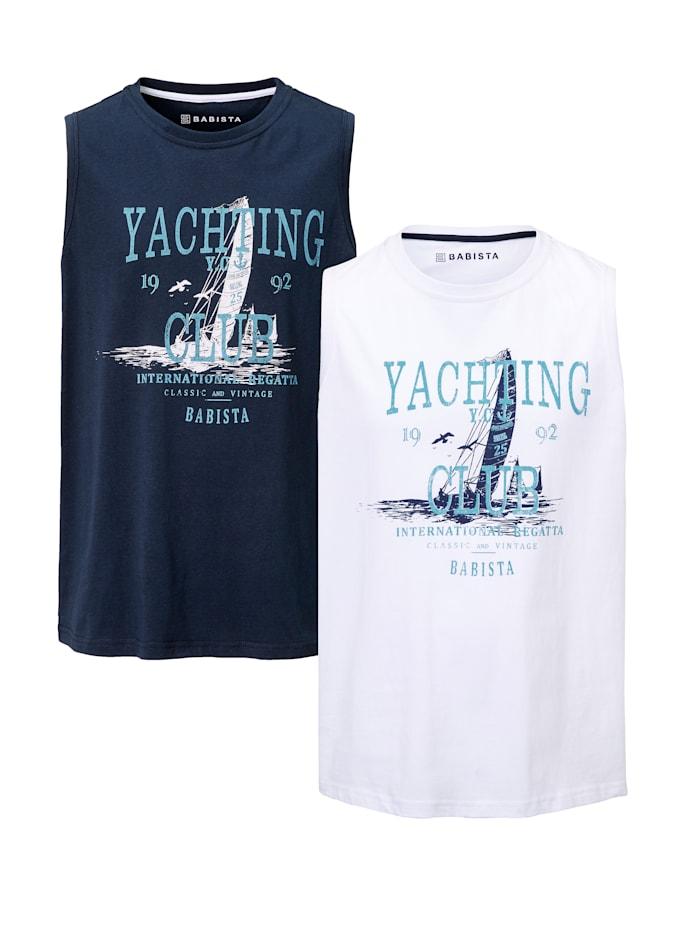 BABISTA Mouwloze shirts per 2 stuks, Wit/Marine
