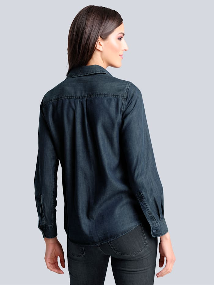 Jeansbluse in angesagter leichter Waschung