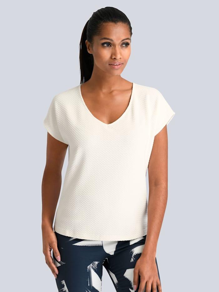 Alba Moda T-shirt dans une belle matière structurée, Blanc