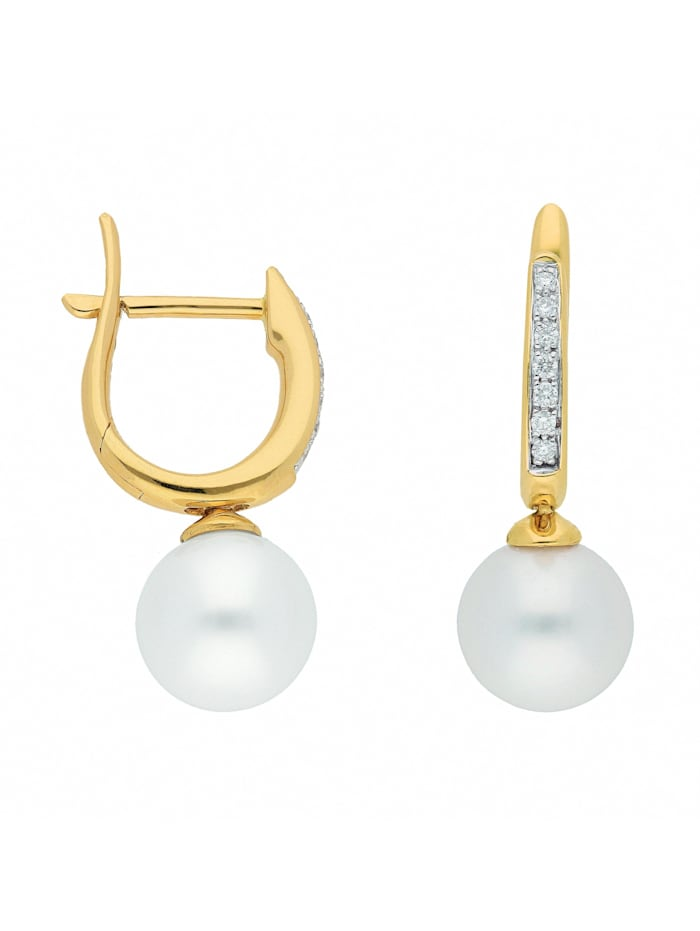 1001 Diamonds Damen Goldschmuck 585 Gold Ohrringe / Creolen mit Süßwasser Zuchtperle Ø 11 mm, gold