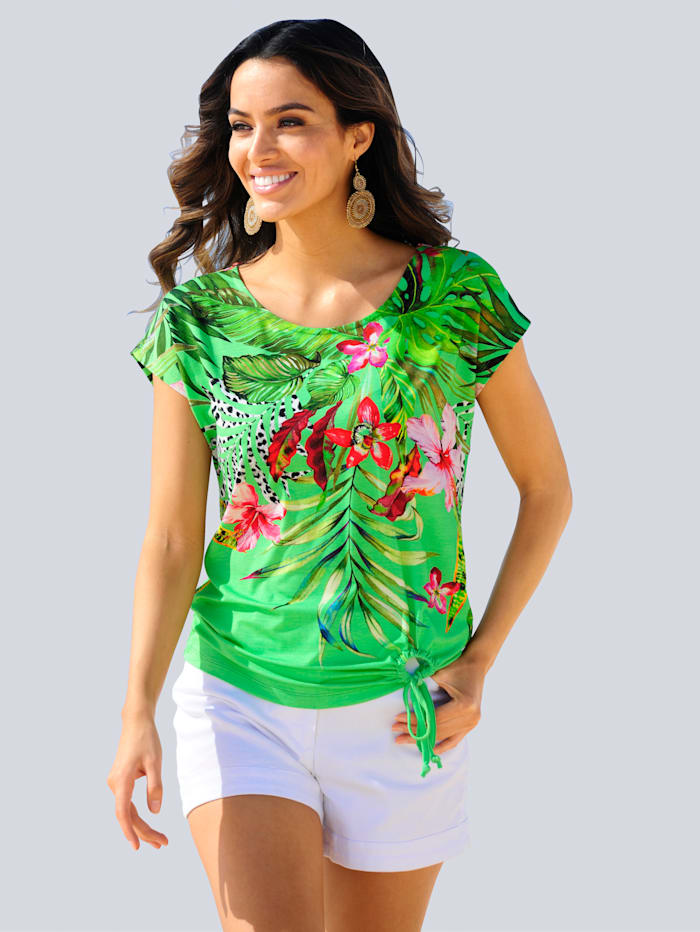 Alba Moda Strandshirt met sierstrikje, Groen