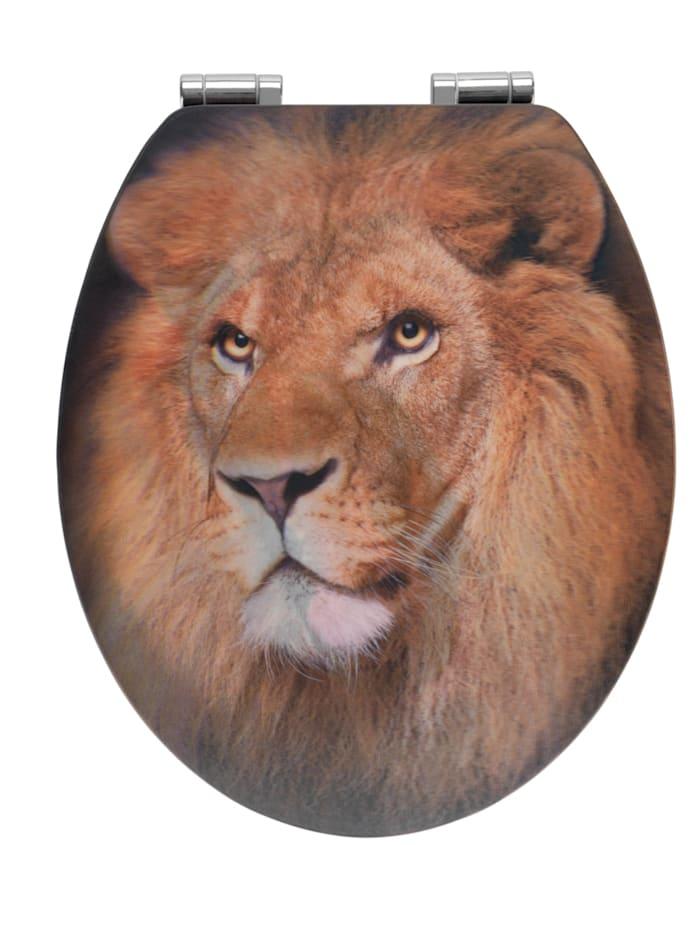 Wenko WC-Sitz Lion mit 3D-Effekt, MDF, mit Absenkautomatik, Mehrfarbig, Befestigung: Silber matt