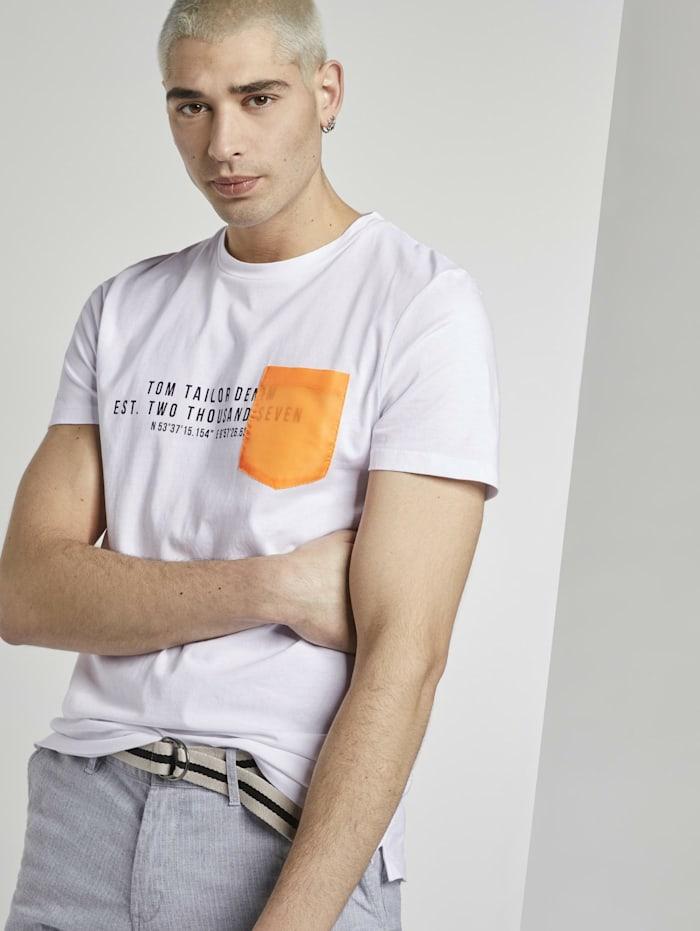 Tom Tailor Denim T-Shirt mit kontrastfarbener Brusttasche, White