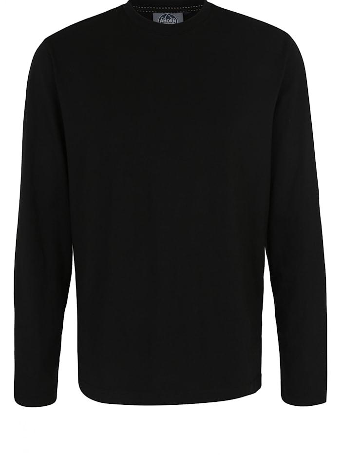 Ahorn Sportswear Langarmshirt mit modernem Rundhalsausschnitt, black