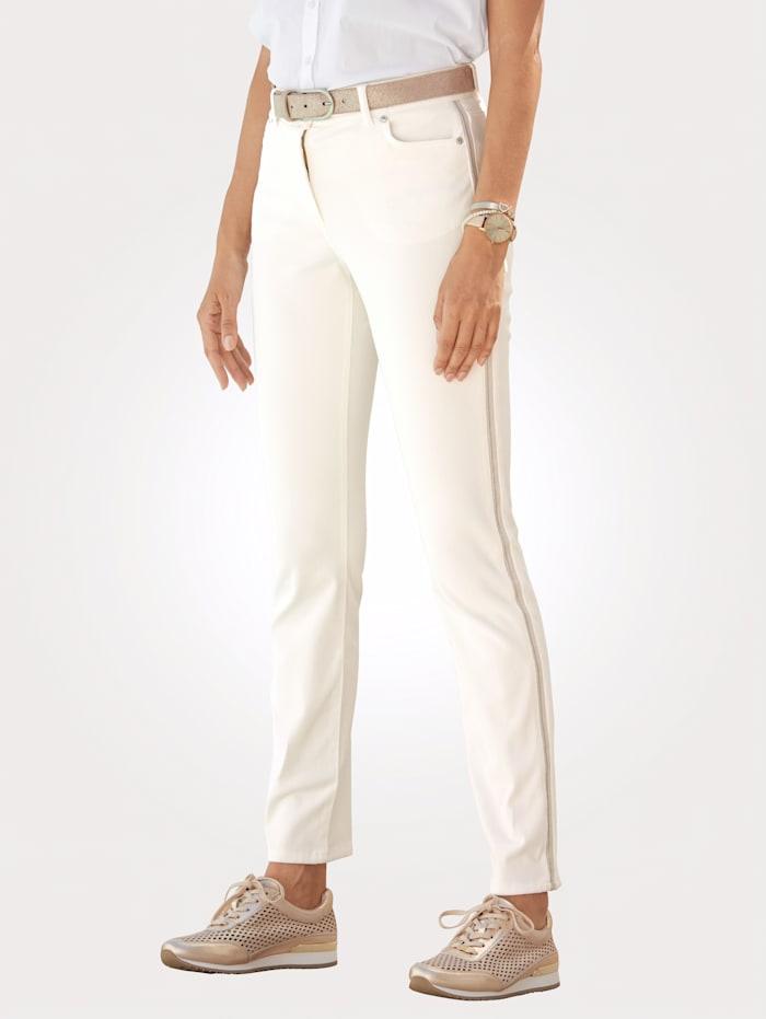 MONA Hose mit seitlichem Zierband, Off-white
