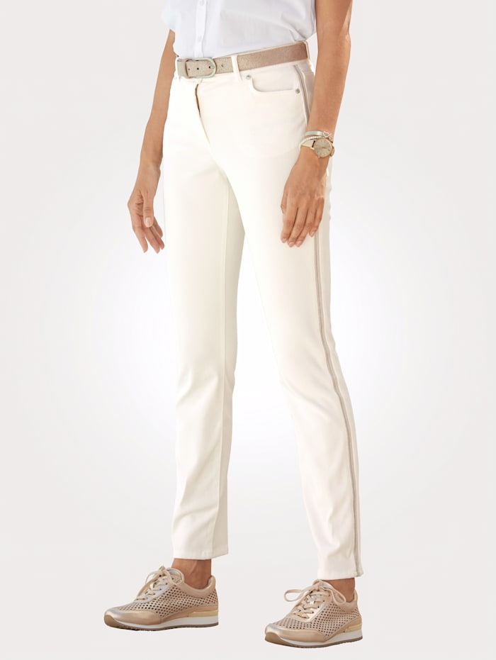 MONA Trousers with side stripes, Off White