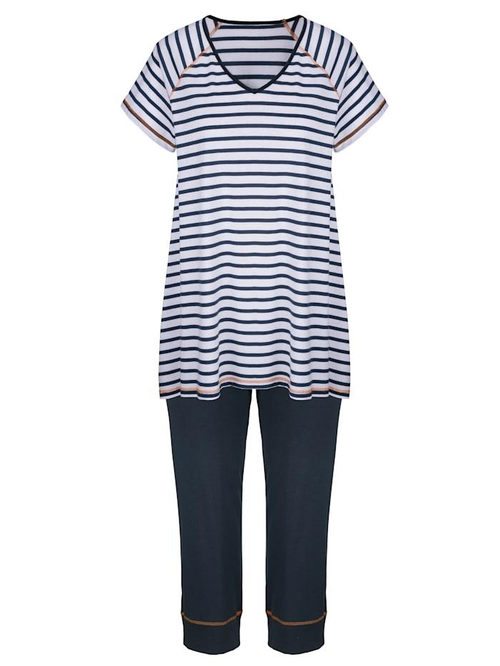 Simone Pyjamas med randig överdel, Marinblå/Vit/Orange
