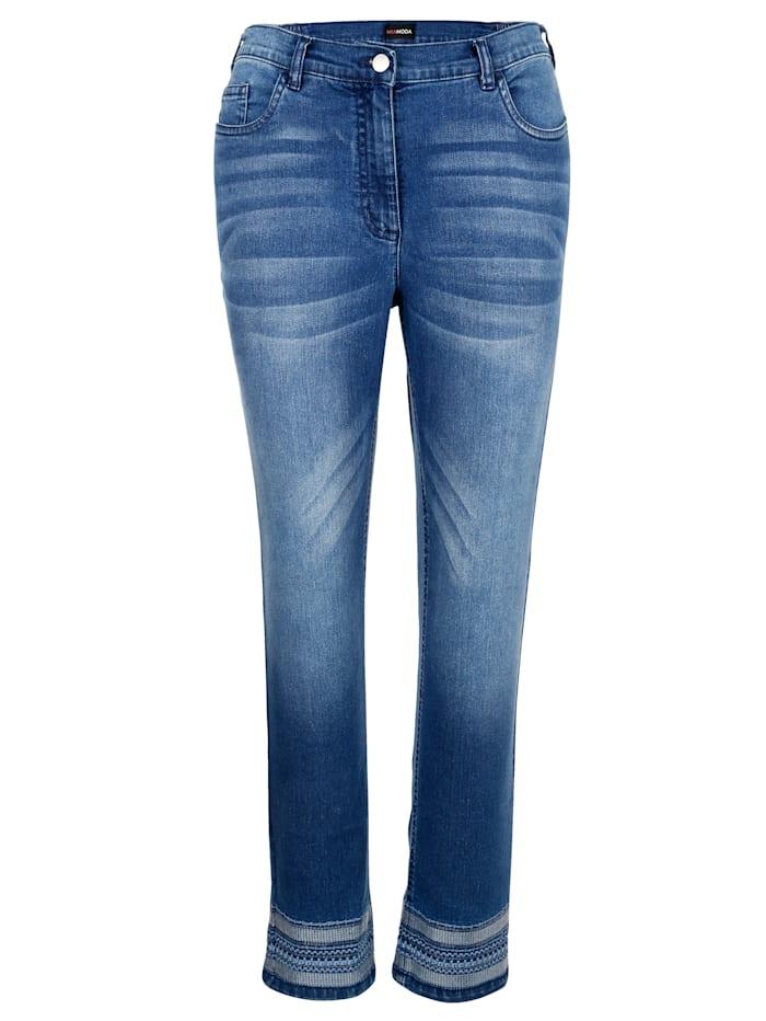 MIAMODA Džíny s módní výšivkou, Blue stone